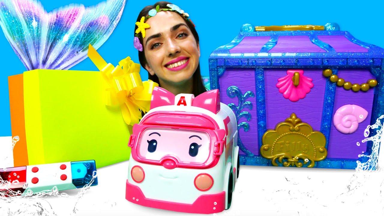 Сундук Русалки иподарок для машинки Робокар Поли— Видео для детей— Игры для девочек