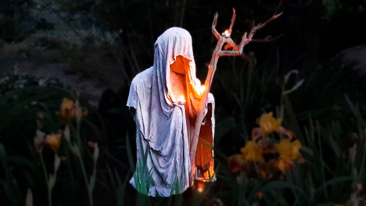 Невероятно КРУТАЯ садовая ФИГУРА из цемента и ткани своими руками / Making a Ghost