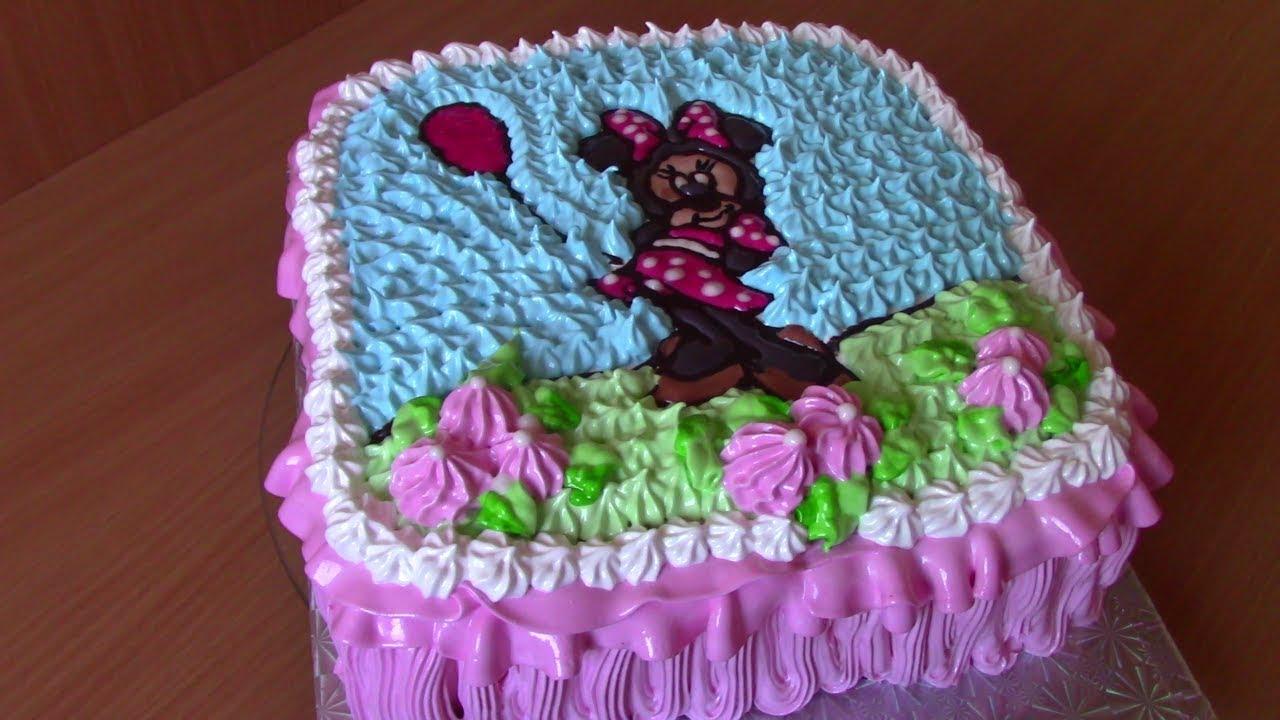 Детский торт МИККИ МАУС, Кремовый ТОРТ Раскраска,украшаем тортик