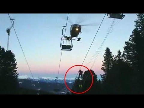 Spectaculaire reddingsactie van 150 skiërs gefilmd