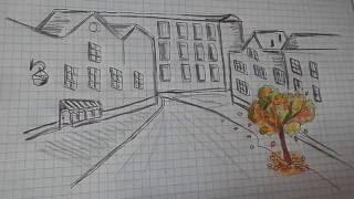 Как нарисовать простой рисунок Осенний Город #38 / Easy how to draw an Аutumn Сity