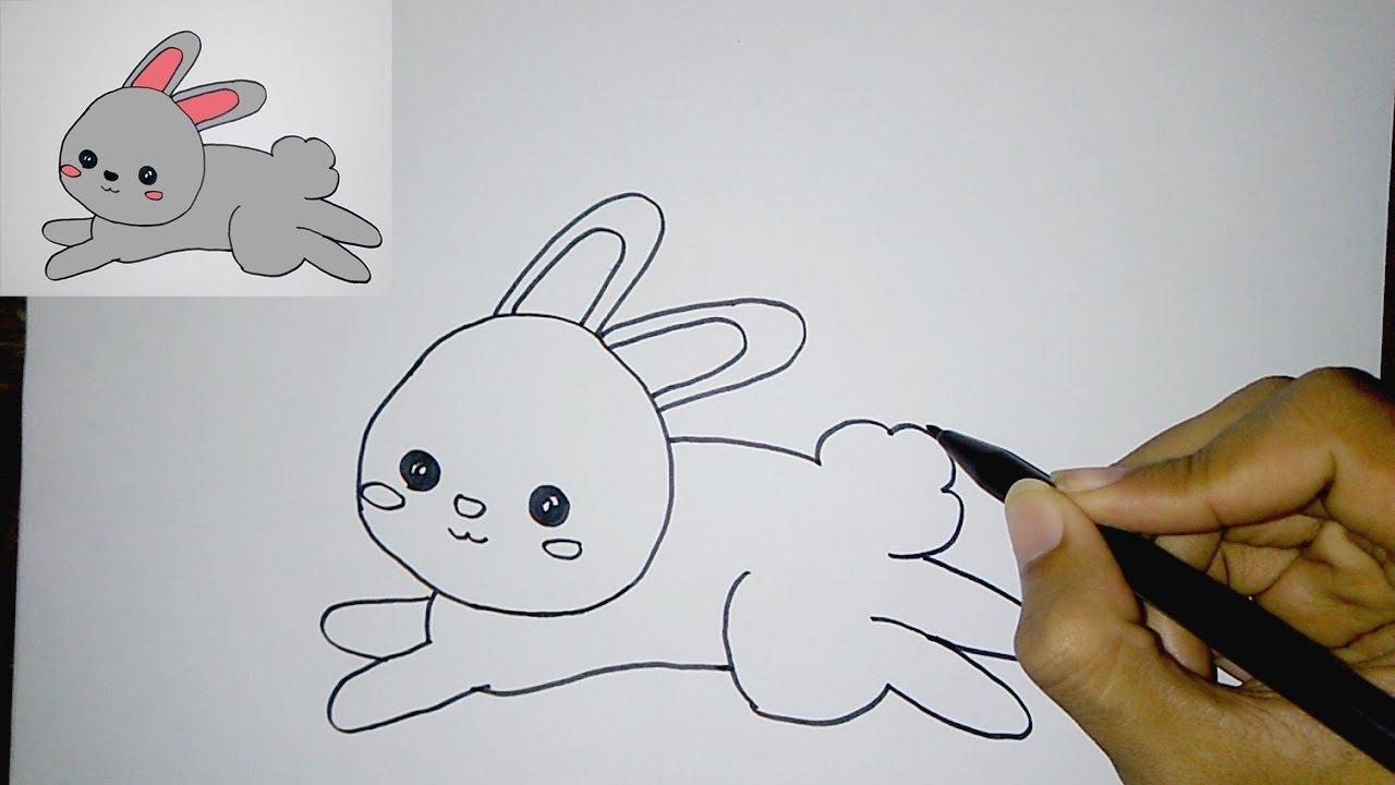 Cara Menggambar Kelinci Lucu Untuk Anak How To Draw A Cute Bunny Easy Youtube