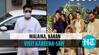 Watch: Malaika Arora, Karan Johar visit Kareena-Saif and their newborn son