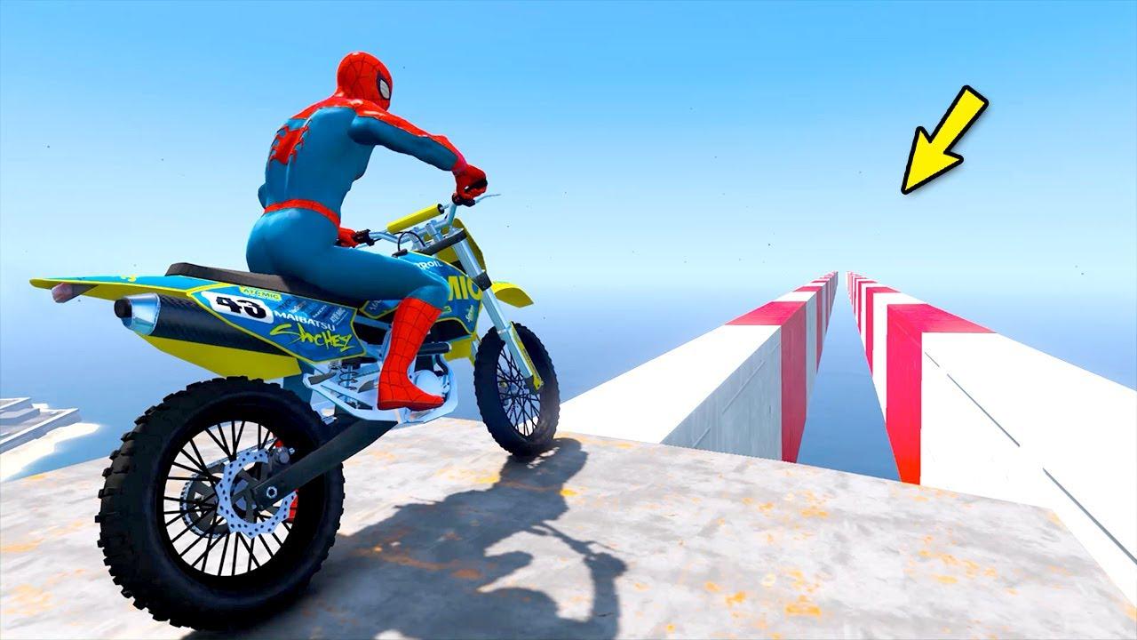 Homem-Aranha com desafio Motos em Road Blocks with Iron-Man, Loki, Doctor Strange - GTA 5 Heróis