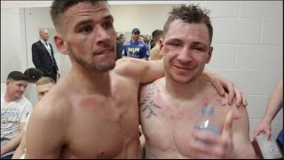 (UNSEEN) MARTIN WARD & MAXI HUGHES EMBRACE IN DRESSING ROOM AFTER 3rd FIGHT IN MANCHESTER