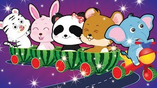 Animals Animation #10 | Little Elephant riding watermelon toy car | Funny animation for kids