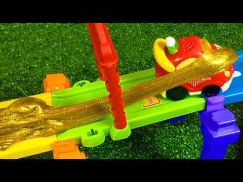 Smart Wheels City: SLIME TRACK! DIY Slime on VTech Go! Go! Smart Wheels Playsets