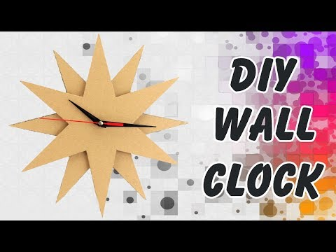 How to Make Star Shape Wall Clock Using Cardboard | DIY Wall Decoration School Project Clock