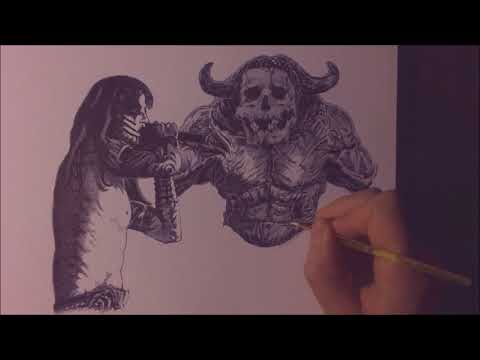 Drawing Shagrath from Dimmu Borgir with ballpoint pen