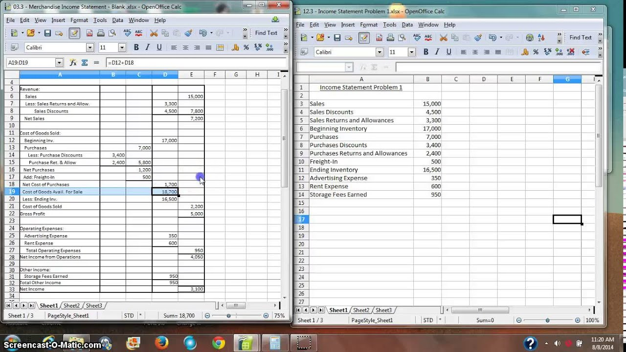 Merchandise Inventory Income Statement Part II - YouTube