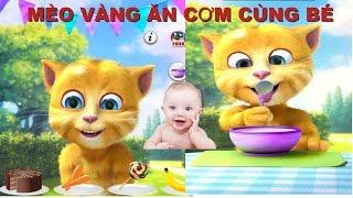 Hoạt hình chú mèo vàng ăn cơm cực đáng yêu| Giúp bé ăn nġon miệng