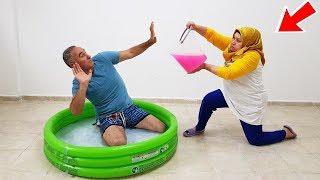 POOL in SLİME PRANK! KOCAMAN Kova Dolusu SLİME'I Havuzun İçinde Kerem Kafasına ÇAKTIK