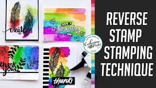 Reverse Stamp Stamping - Four Cards With Rainbow Colors