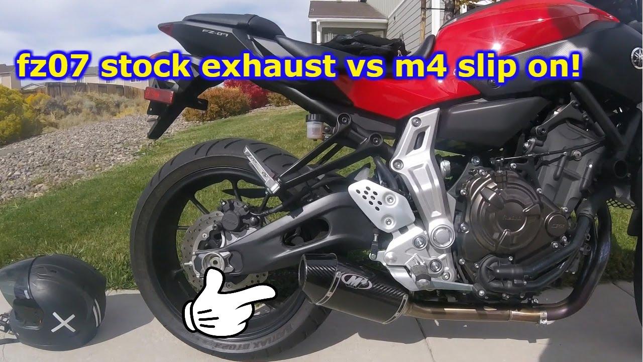 fz07 stock exhaust VS m4 slip on!