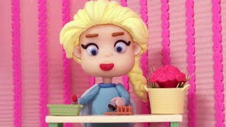 BEUTYFULL FROZEN ELSA Play Doh Stop Motion and Cartoons For Kids 💕 Superhero Babies