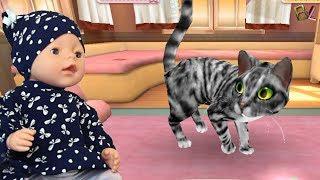 СИМУЛЯТОР КОШКИ Вредная Малышка КАТЯ Играет и Ухаживает за КОШКОЙ Как МАМА Приют для Кошки