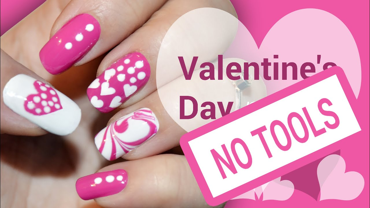 Heart nail art tutorial images for Valentine day at home