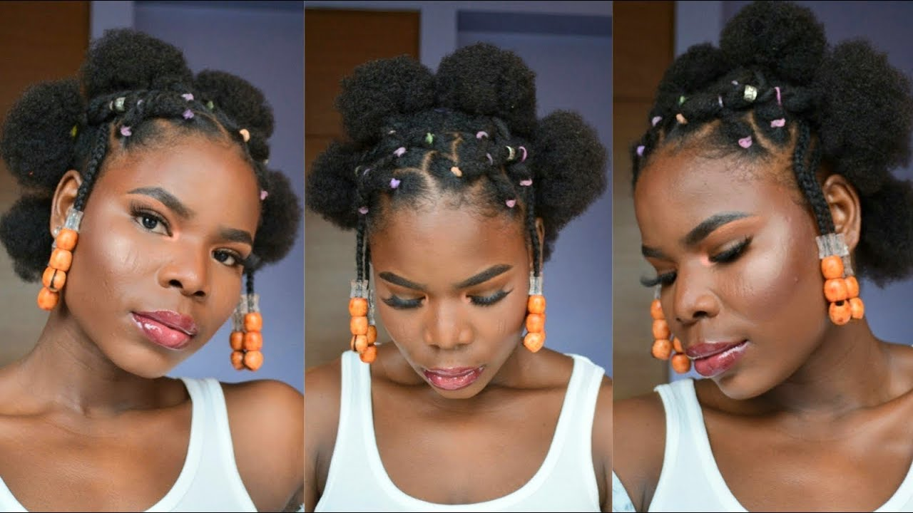 unplanned natural hairstyle | criss cross rubber band method on short  natural hair