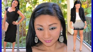 NEW YEARS EVE COMPLETE LOOK: Drugstore glitter eye makeup tutorial & New Years Eve Outfit Ideas!