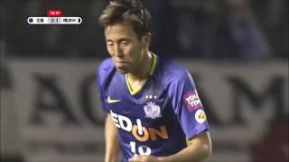 広島が左サイドからチャンスを作り出すと、相手GKが弾いたボールをパト...