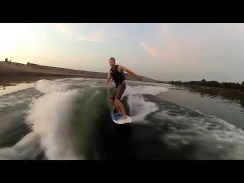 Sanger V215 wakesurfing with