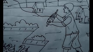 Easy drawing for kids. Boy and kite.