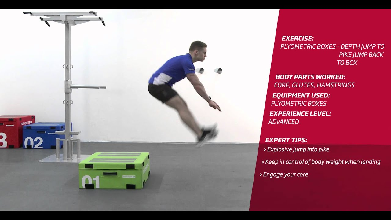 Fitness First Freestyle exercise - Plyometric Boxes Depth Jump to Pike Jump  Back to Box