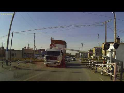 Нарушение Правил проезда железнодорожного переезда в г. Атырау (Казахстан)