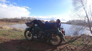 """Мотоцикл """"УРАЛ"""". Долгий запуск. Небольшая прогулка."""