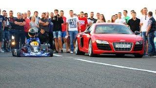 180 км/ч на карте! DRAG, kart kz-2 vs Audi R8 V10