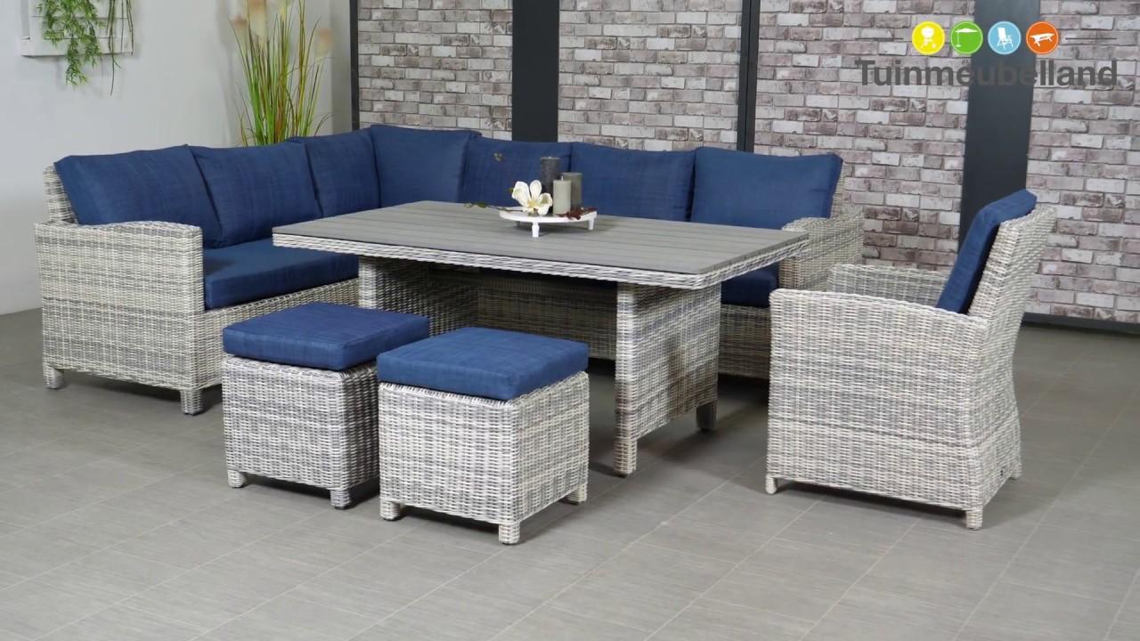 Norma lounge dining set lichtgrijs blauw merk garden impressions