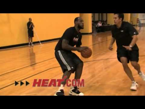 LeBron James practicing for the Miami Heat