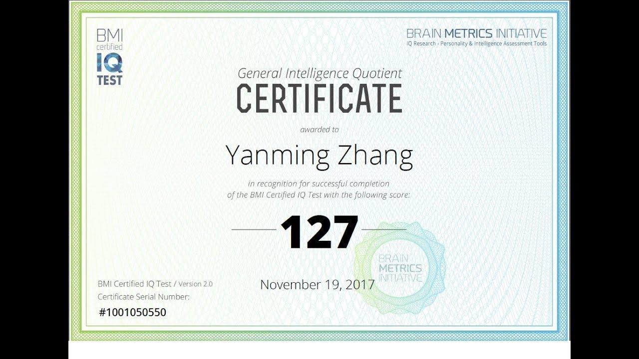 Yanming Zhang IQ test 2017 11 19