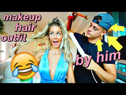 boyfriend does my makeup, hair AND picks out my outfit thumbnail