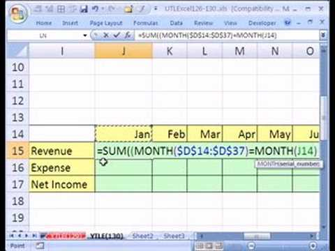 Ytl Excel 130 Income Statement From Excel Table Array