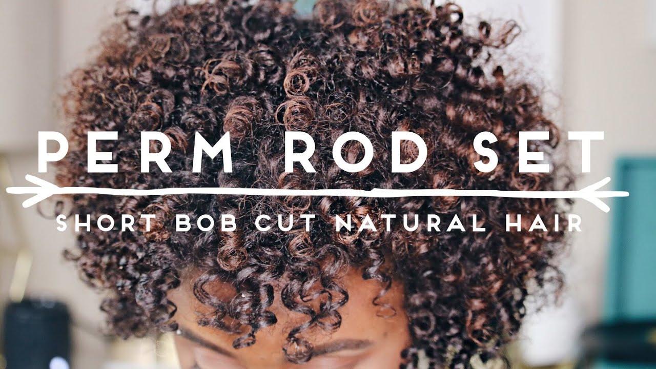 Perm Rod Set On Short Bob Cut Naturally Curly Hair Iknowlee Youtube