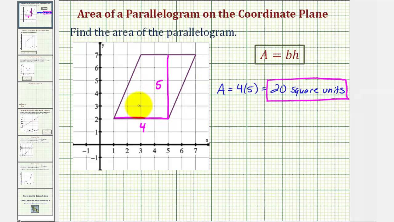 Ex: Area of a Parallelogram on the Coordinate Plane - YouTube [ 720 x 1280 Pixel ]