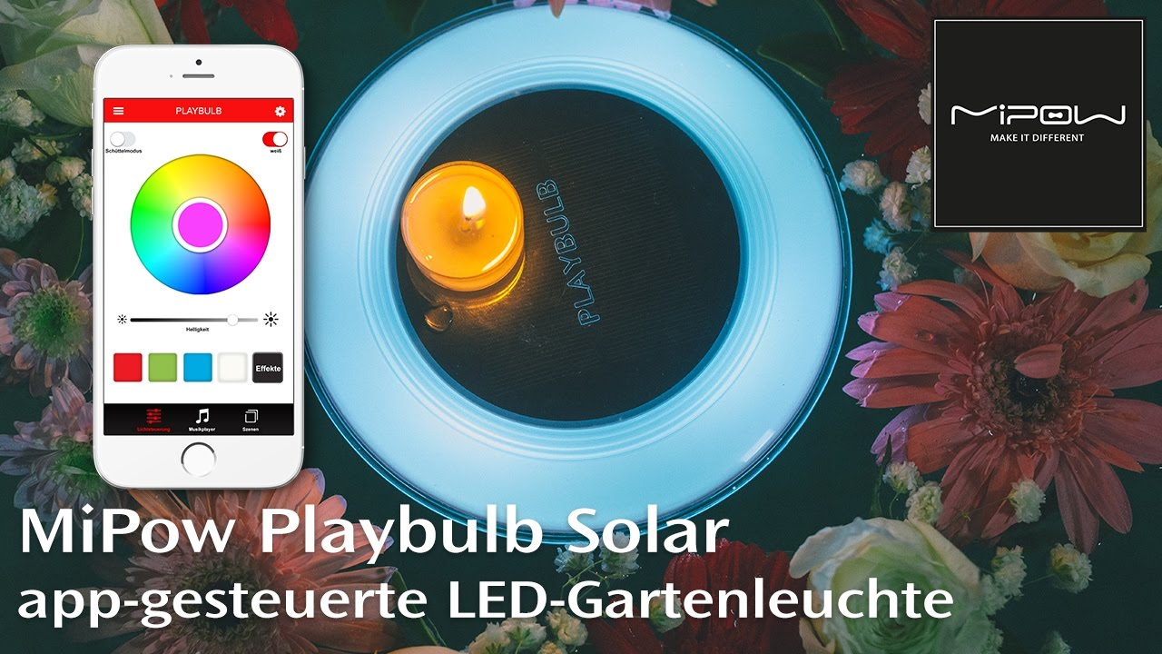 mipow playbulb solar led leuchte f r garten und pool mit app steuerung youtube. Black Bedroom Furniture Sets. Home Design Ideas