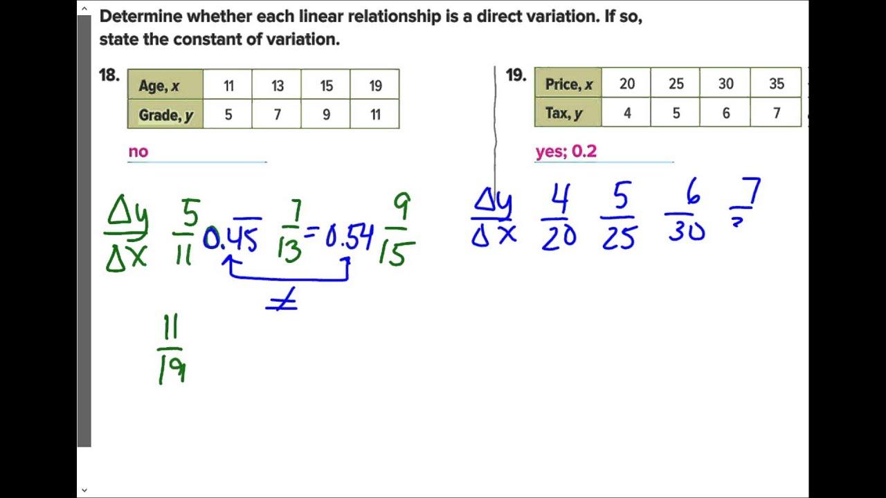 Lesson 5 Homework Practice Direct Variation Answer Key
