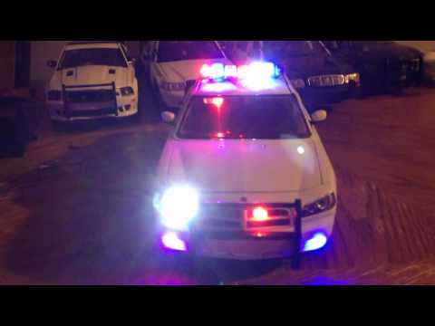 Lights on police car