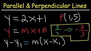 Writing Equations of Lines Parallel and Perpendicular to a Given Line Through a Point thumbnail