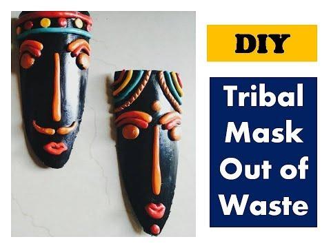 #DIY tribal mask out of waste | wall decor ideas | shilpkar clay craft