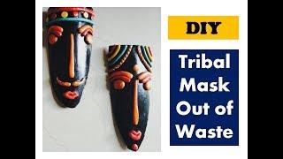 #DIY tribal mask out of waste   wall decor ideas   shilpkar clay craft