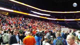 Clemson crowd at national championship media day in Tampa.