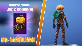 ALL BACK BLINGS ON JACK GOURDON NEW SKIN! | 50+ BACK BLINGS | FORTNITE BEFORE YOU BUY