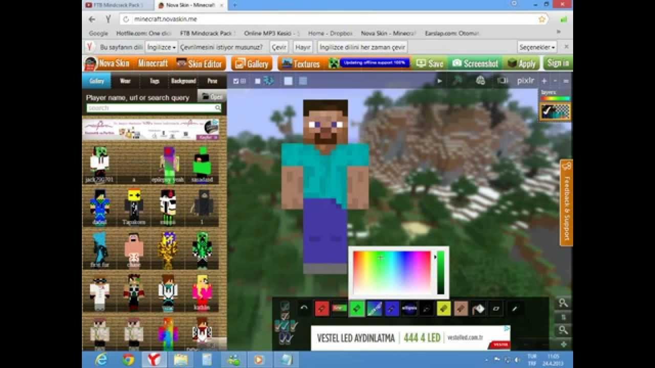 Minecraft Skin Yapma Ve Yükleme(NovaSkin)