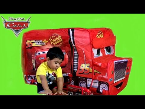 Giant Disney Cars Mack Truck Tent  Thomas and Friends Toy Train Egg Surprise
