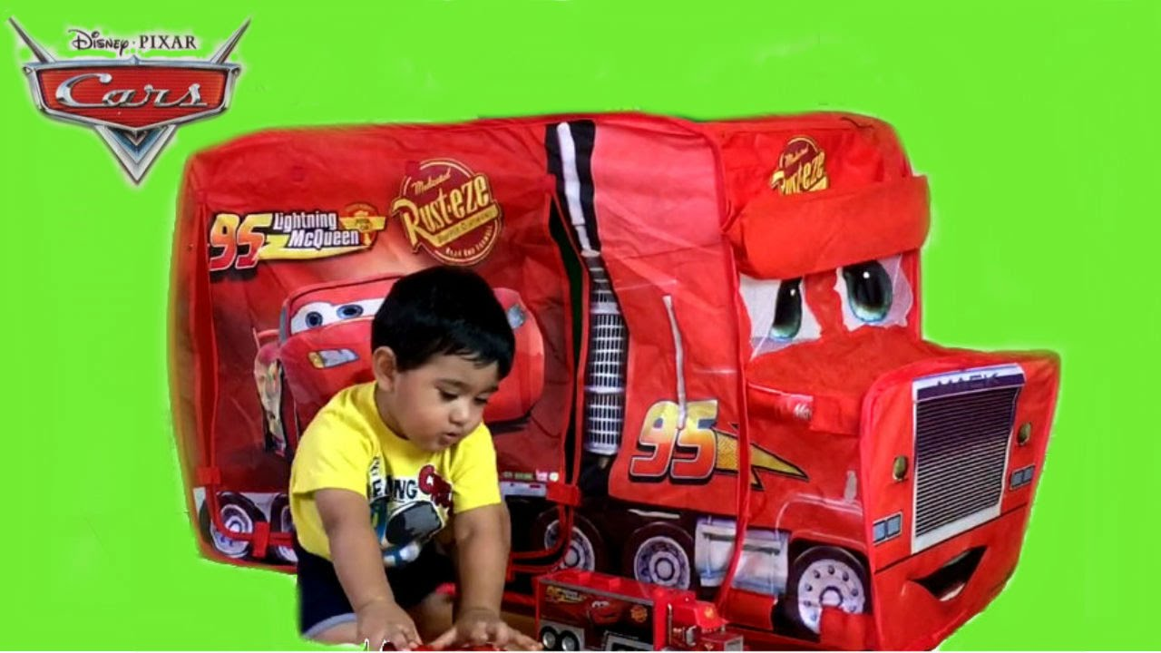 Giant Disney Cars Mack Truck Tent Thomas and Friends Toy Train Egg Surprise  sc 1 st  YouTube & Giant Disney Cars Mack Truck Tent Thomas and Friends Toy Train Egg ...