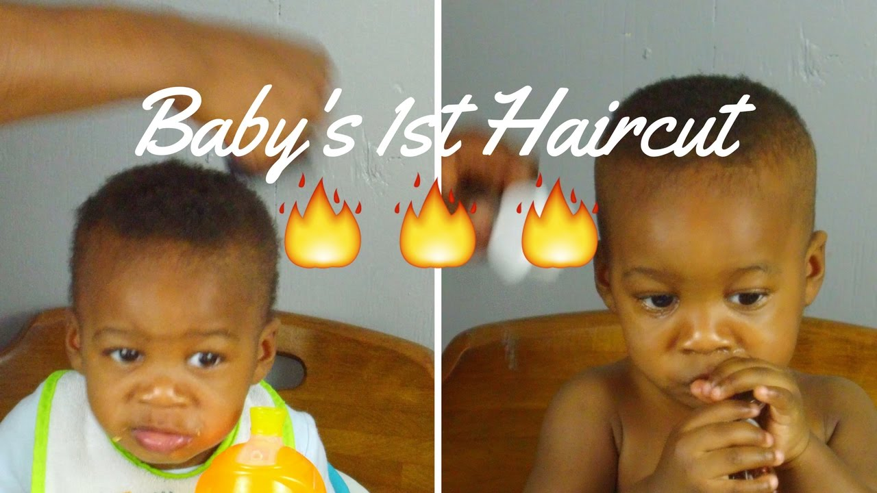 Black baby boy first haircut