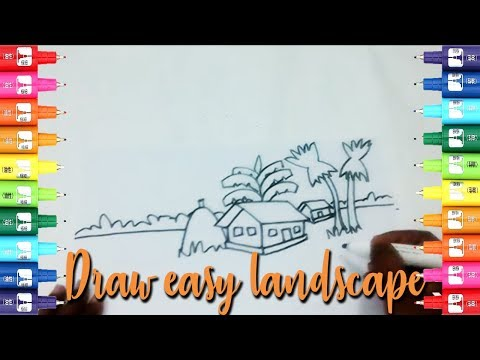 How to draw easy landscape for Kids- Easy kids drawing tutorial